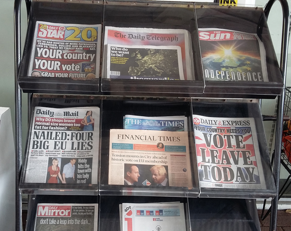 A newspaper stand with British newspapers, the day before the Brexit referendum.