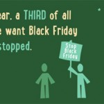 "Still from Traidcraft video: ""This year, a third of all people want Black Friday to be stopped."""