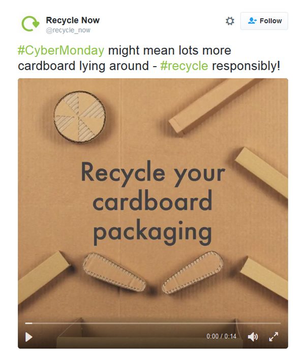 Tweet from Recycle Now with image of carboard pinball machine.