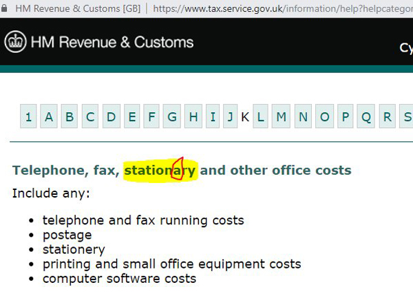 "Advice page from HMRC website that mentions ""stationary and other office costs""."