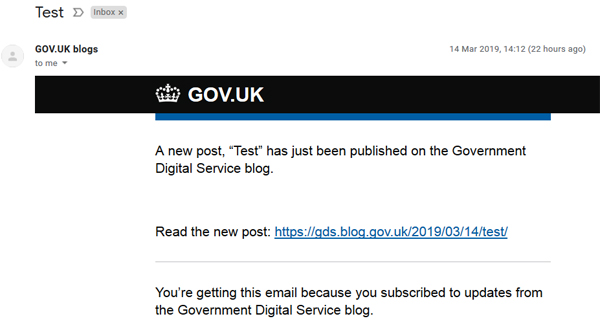 "Screenshot of email notification: ""A new post, 'Test', has just been published on the Government Digital Service blog."""