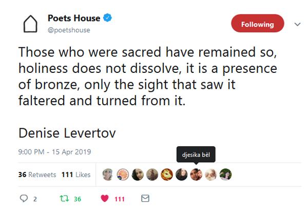 Poets House tweet (text in link)