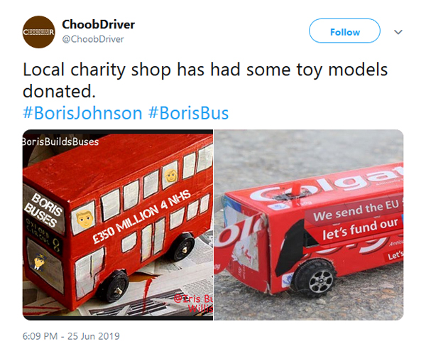 """Screenshot from Twitter: photos of cardboard buses with """"£350 million 4 NHS"""" written on the side."""