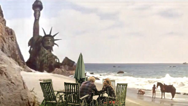 """Photoshopped picture of Boris and Carrie on the beach in the final shot of """"Planet of the Apes""""."""