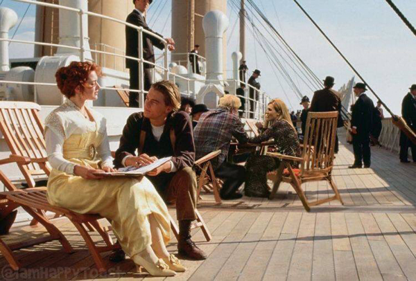 """Photoshopped picture of Boris and Carrie on the deck of the Titanic in the film """"Titanic""""."""