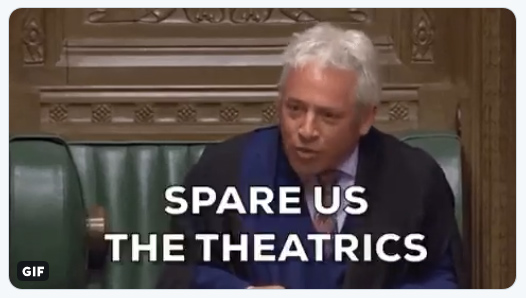 "Picture of John Bercow with the caption ""Spare us the theatrics""."