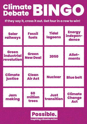 """Climate debate bingo"" card."