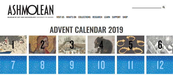 "Screengrab of the Ashmolean Museum website, with an online ""Advent calendar"". Six windows have been opened and show different winter-themed artworks."