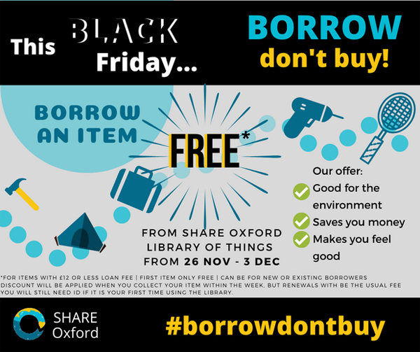 """""""Borrow don't buy"""" poster from Oxford's Library of Things."""
