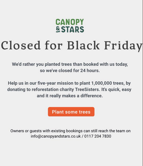 """Canopy and Stars web page, with the message """"Closed for Black Friday""""."""