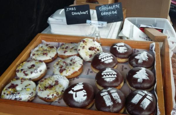 "A tray of ""Christmas doughnuts""."