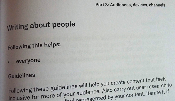 """A page from the Readability Guidelines book, with the words: """"Following this helps: everyone""""."""