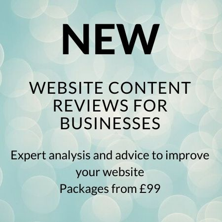 """Banner advert with the words: """"NEW. Website content reviews for businesses. Expert analysis and advice to improve your website. Packages from £99."""""""